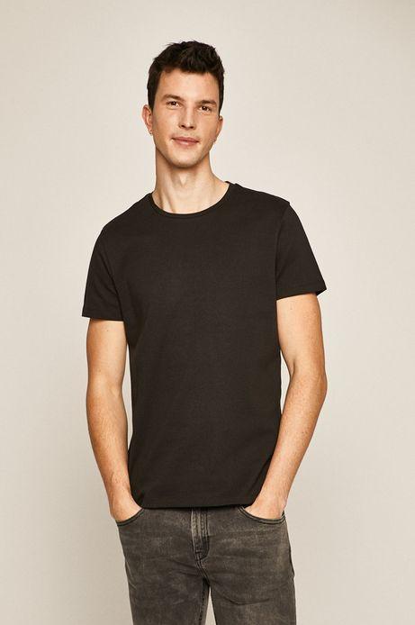 T-shirt męski z okrągłym dekoltem czarny