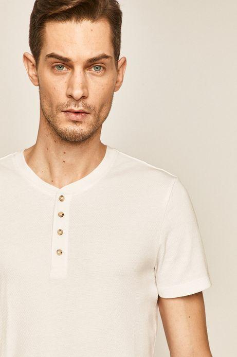 T-shirt męski z guzikami biały