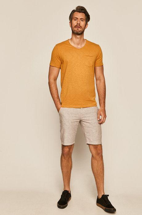 T-shirt męski z kieszonką żółty