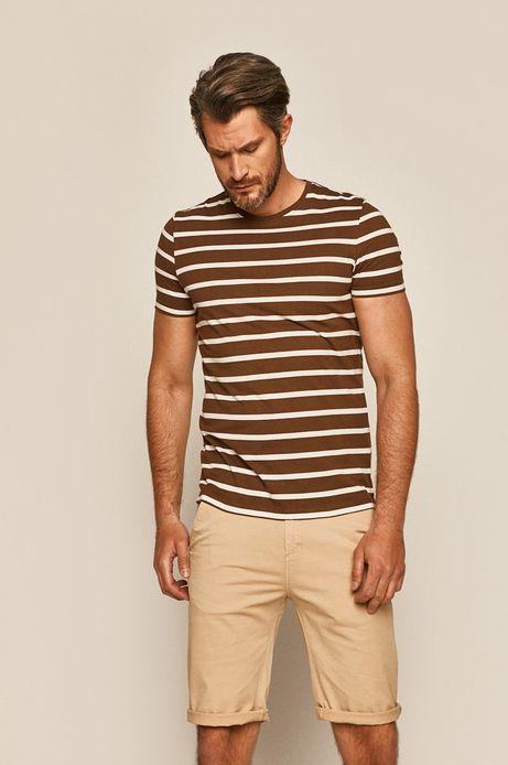 T-shirt męski w paski brązowy