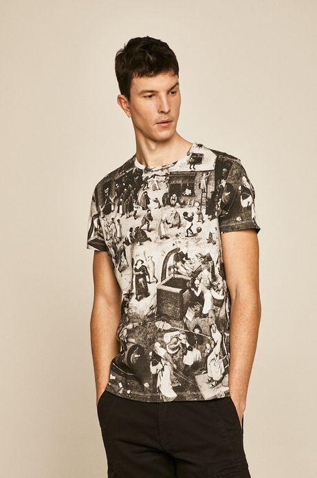 T-shirt męski Eviva L'arte kremowy