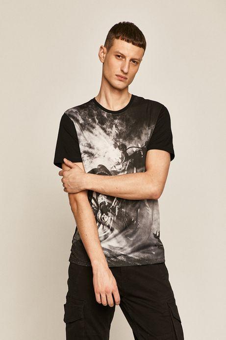 T-shirt męski z nadrukiem czarny