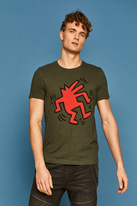 T-shirt męski by Keith Haring zielony