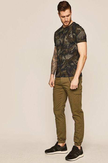 T-shirt męski wzorzysty zielony