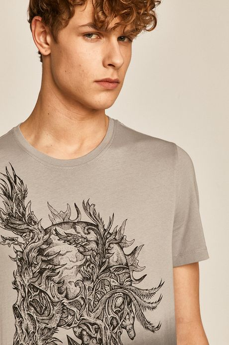 T-shirt męski z nadrukiem szary