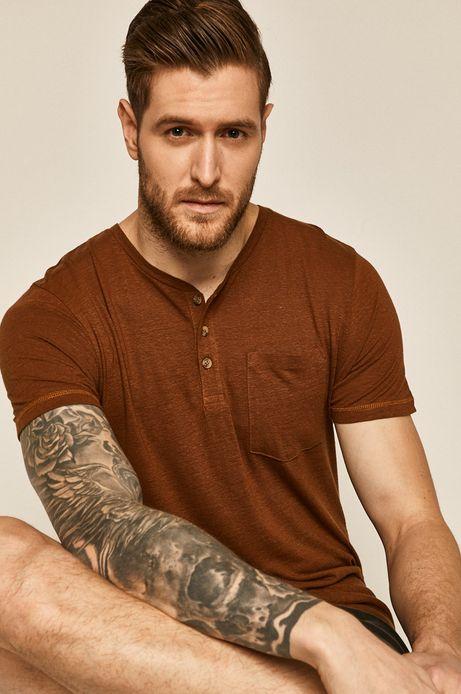 T-shirt męski lniany brązowy