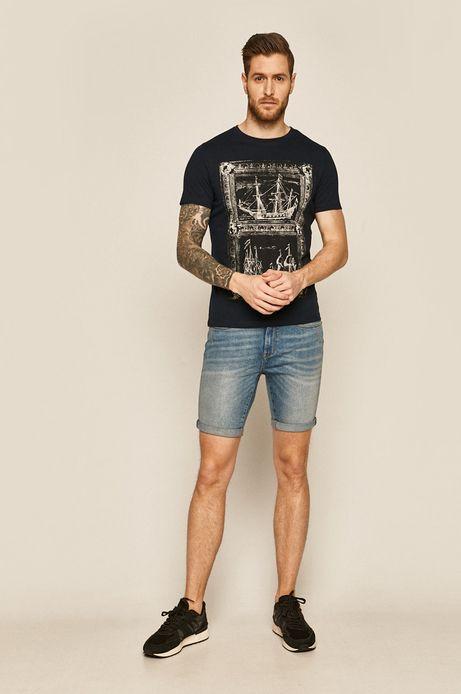Bawełniany t-shirt męski z nadrukiem granatowy