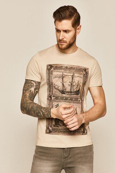 Bawełniany t-shirt męski z nadrukiem beżowy