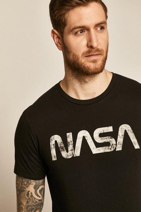 T-shirt męski Nasa z nadrukiem czarny