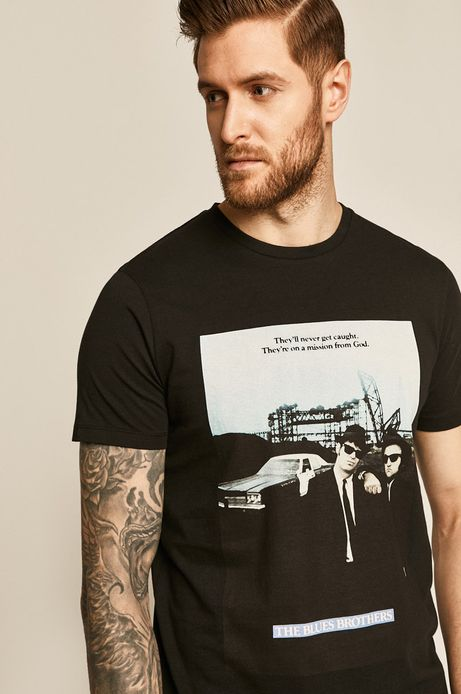 T-shirt męski Blues Brothers z nadrukiem czarny