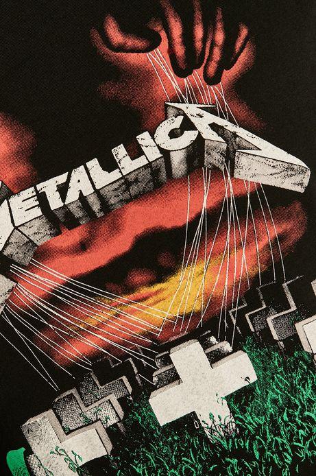 T-shirt męski Metallica z nadrukiem czarny
