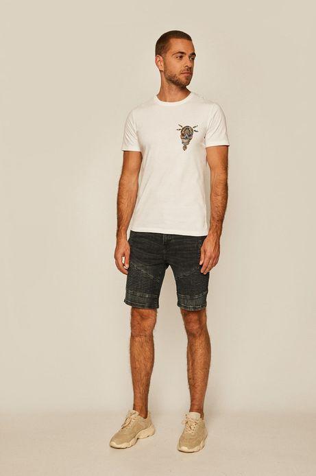 T-shirt męski z nadrukiem biały