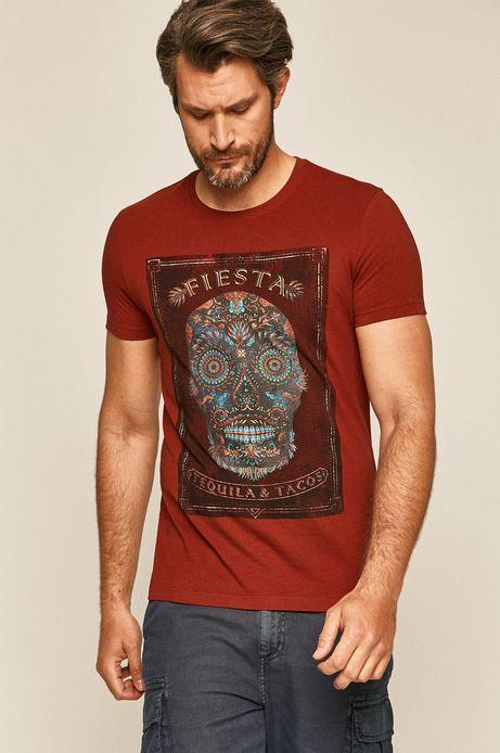 Bawełniany t-shirt męski z nadrukiem czerwony