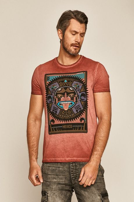 T-shirt męski z nadrukiem czerwony