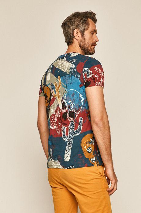 Bawełniany t-shirt męski wzorzysty granatowy