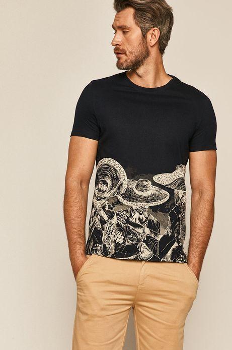 T-shirt męski z nadrukiem granatowy