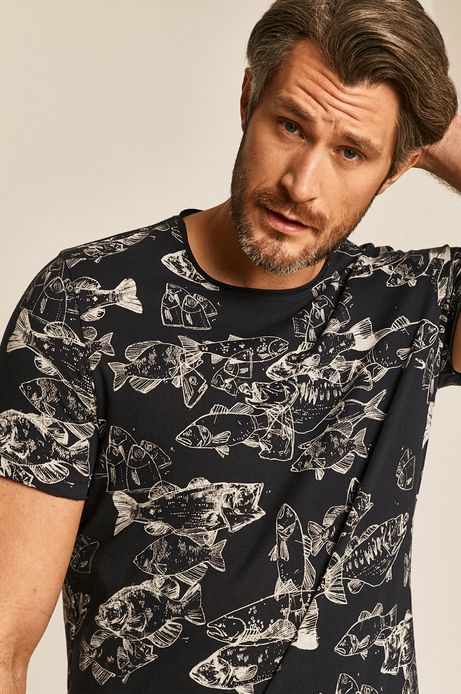 T-shirt męski wzorzysty granatowy