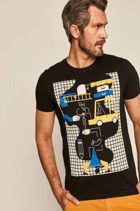 T-shirt męski by Paulina Adamowska, Grafika Polska czarny