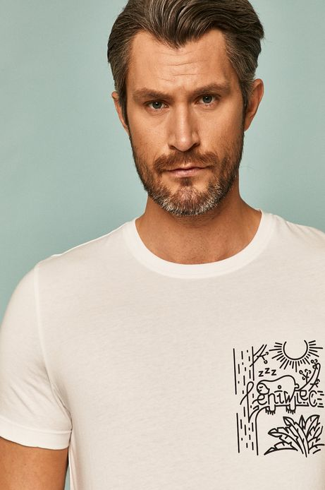 T-shirt męski by Alan Kamiński, Grafika Polska biały