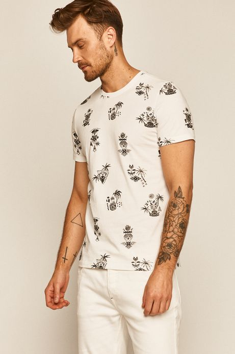 T-shirt męski wzorzysty biały