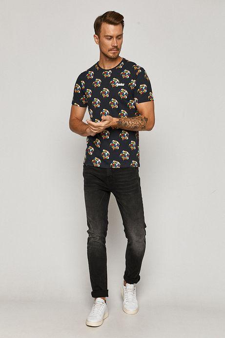 T-shirt męski z nadrukiem Kostka Rubika szary