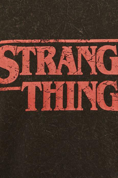 T-shirt męski z nadrukiem Stranger Things czarny