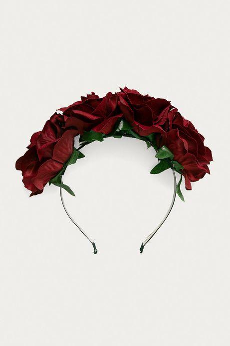 Opaska damska na włosy z kwiatami czerwona
