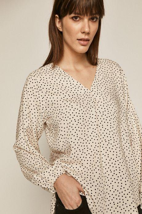 Bluzka damska ze spiczastym dekoltem kremowa