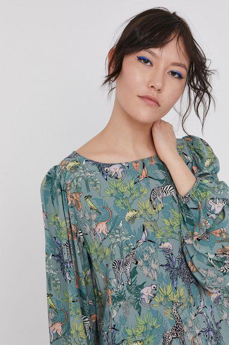 Wzorzysta bluzka damska z wiskozy z bufiastymi rękawami turkusowa