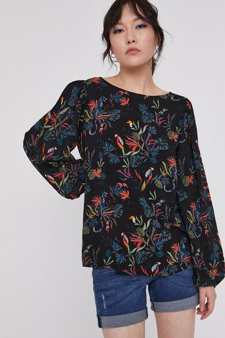 Wzorzysta bluzka damska z wiskozy z bufiastymi rękawami z wiskozy czarna