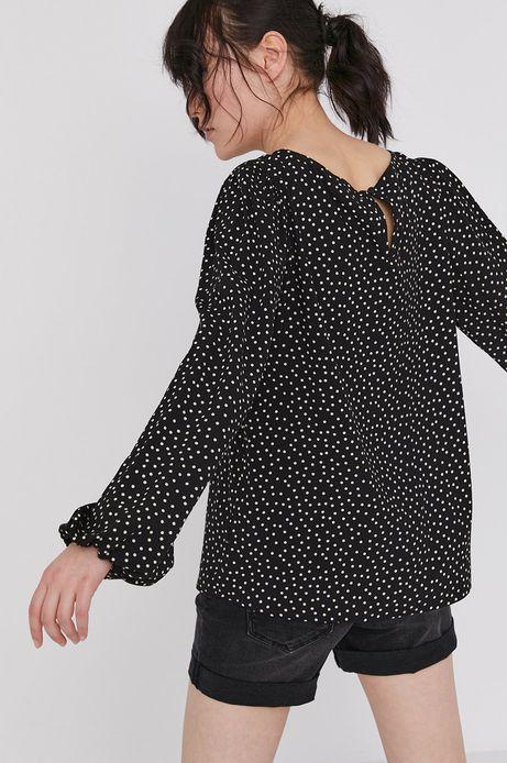Wzorzysta bluzka damska z wiskozy z bufiastymi rękawami czarna
