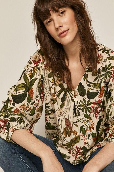 Bluzka damska ze spiczastym dekoltem beżowa