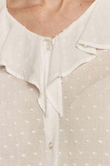 Bluzka damska z falbanką z tkaniny plumeti biała