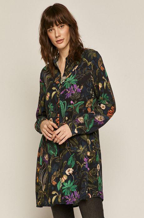 Bluzka damska w roślinny wzór czarna