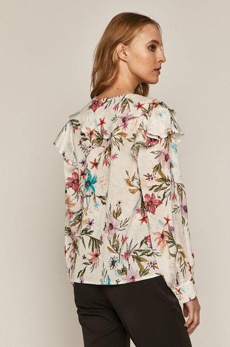 Bluzka damska z falbanką w kwiaty biała
