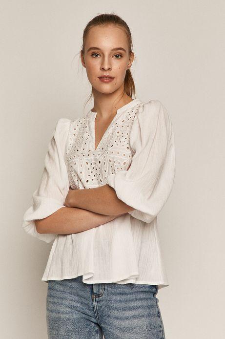 Bawełniana bluzka damska z ażurowym elementem biała