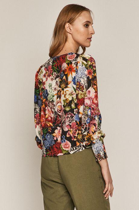 Bluzka damska w kwiaty ze spiczastym dekoltem