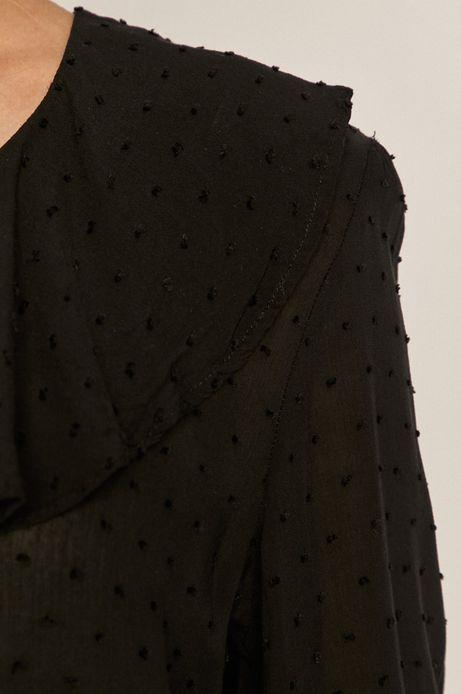 Bluzka damska z tkaniny plumeti czarna