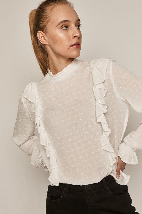 Bluzka damska z tkaniny plumeti biała