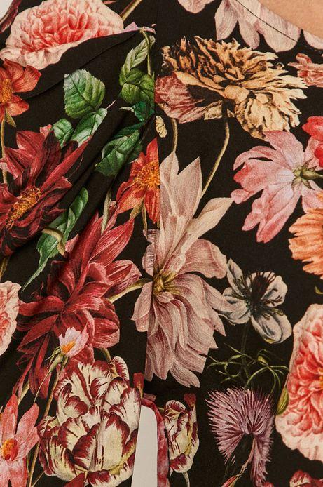 Bluzka damska z dekoltem V w kwiaty czarna