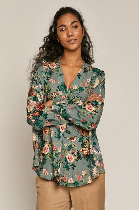 Bluzka damska w kwiaty ze spiczastym dekoltem turkusowa