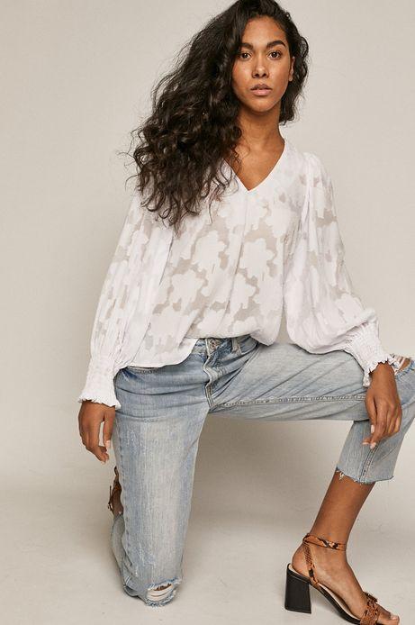 Bluzka damska z recyklingowanego poliestru biała