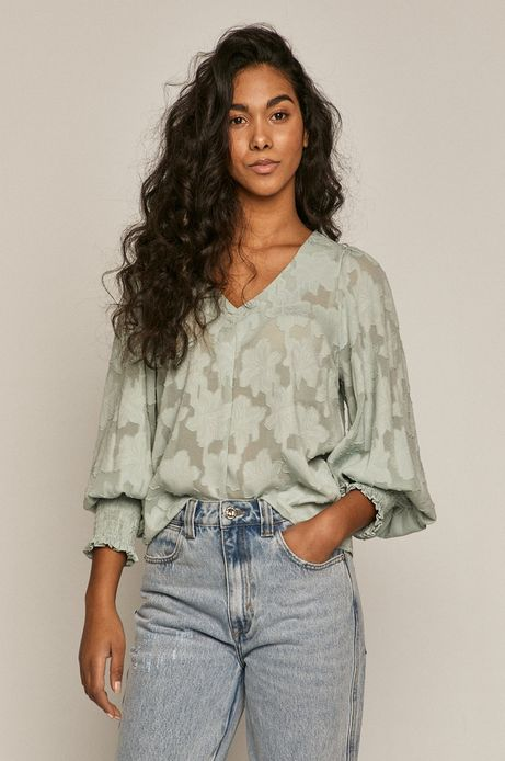 Bluzka damska z recyklingowanego poliestru turkusowa