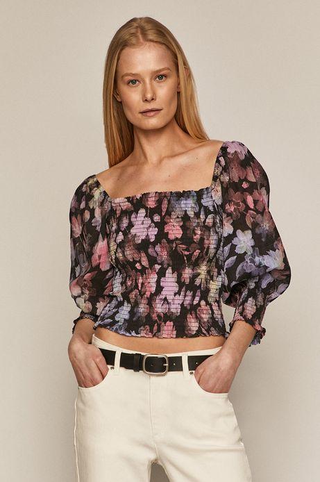 Elastyczna bluzka damska w kwiaty czarna