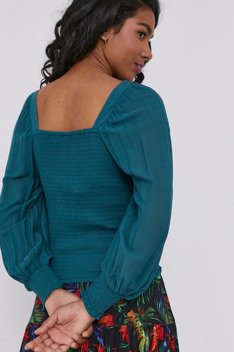 Bluzka damska z dekoltem typu karo turkusowa