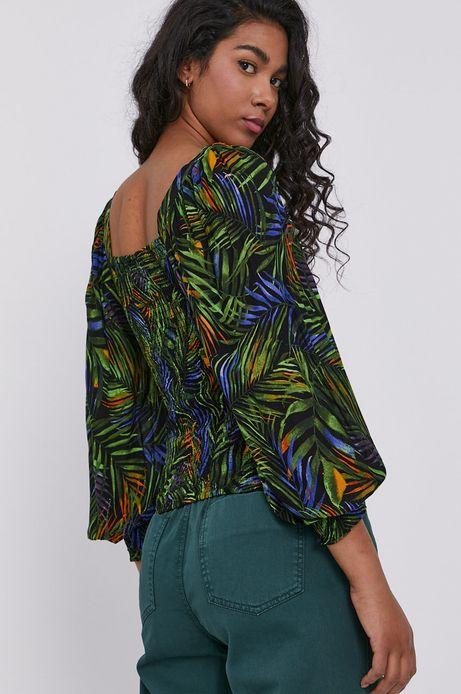 Bluzka damska z dekoltem typu karo wzorzysta