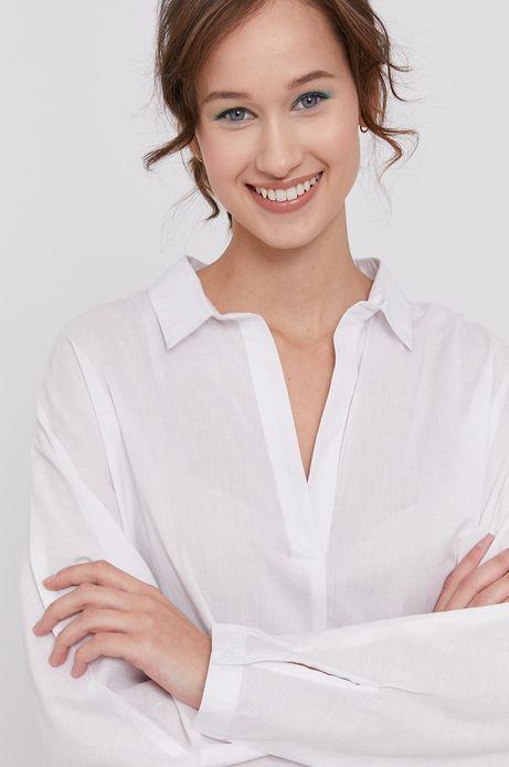 Bawełniana bluzka damska z kołnierzykiem biała