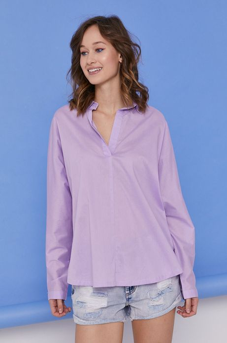 Bawełniana bluzka damska z kołnierzykiem fioletowa