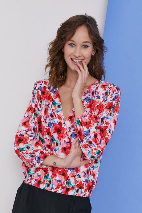 Bluzka damska z kopertowym dekoltem w kwiatowy wzór