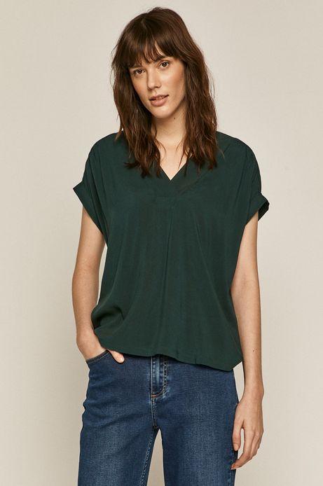 Bluzka damska ze spiczastym dekoltem zielona